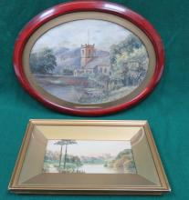 OVAL FRAMED OIL ON BOARD DEPICTING GRASMERE CHURCH AND W RAY WATERCOLOUR DEPICTING THE RIVER OUSE NEAR SELBY, YORKSHIRE