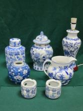 PARCEL OF ORIENTAL STYLE BLUE AND WHITE CERAMIC INCLUDING GINGER JARS