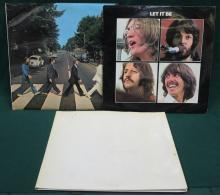 THE BEATLES WHITE ALBUM No 0303683, ALSO TWO OTHER BEATLES RECORDS- LET IT BE AND ABBEY ROAD