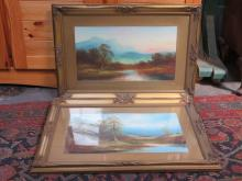 PAIR OF GILT FRAMED OIL PAINTINGS DEPICTING RIVER SCENES, UNSIGNED, APPROXIMATELY 25cm x 46cm