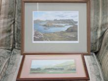 PENCIL SIGNED MARY KING PRINT AND 1930s WATERCOLOUR DEPICTING A COASTAL SCENE