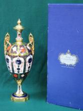 BOXED ROYAL CROWN DERBY GILDED TWO HANDLED URN, APPROXIMATELY 43cm HIGH