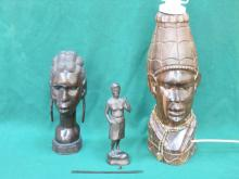 AFRICAN STYLE CARVED TABLE LAMP PLUS BUST AND FIGURE