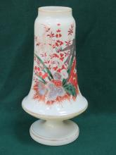 DECORATIVE GREEN COLOURED GLASS AND HANDPAINTED VICTORIAN STEMMED VASE, APPROXIMATELY 34cm HIGH