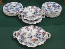 VICTORIAN HANDPAINTED AND GILDED FLORAL DECORATED FIFTEEN PIECE DESSERT SET, STAMPED PEARL TO BASE