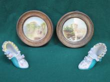 PAIR OF CIRCULAR FRAMED PAINTINGS ON PORCELAIN DEPICTING THE STILL HOUSE AND GATEWAY, TAVISTOCK ABBEY, INITIALLED 'JC'.  ALSO PAINTED CERAMIC SHOES