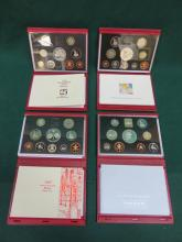 FOUR CASED ROYAL MINT DELUXE PROOF COIN SETS- 1996, 1997, 1998, 1999