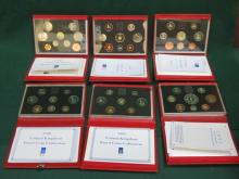 SIX CASED ROYAL MINT UK PROOF COIN SETS- 1990, 1991, 1992, 1993, 1994, 1995