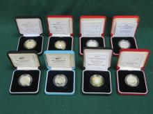 EIGHT VARIOUS CASED ROYAL MINT SILVER PROOF £2 COINS