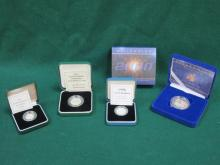 FOUR VARIOUS CASED ROYAL MINT SILVER PROOF COINS INCLUDING 5p COIN, 10p COIN, £1 COIN AND £5 COIN