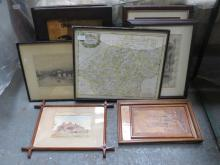 MIXED LOT OF PICTURES AND PRINTS, ETCHING, MAP, ETC.  PLUS FRAMED MILITARY PHOTOGRAPHS WITH SIGNATURES