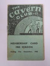 1962 CAVERN CLUB CARD MEMBERSHIP