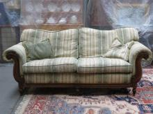 REPRODUCTION VICTORIAN STYLE UPHOLSTERED TWO SEATER SETTEE