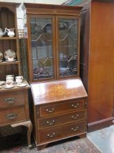 ANTIQUE MAHOGANY INLAID TWO DOOR GLAZED BUREAU BOOKCASE