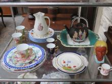 SUNDRY LOT INCLUDING VICTORIAN JUG, TEAPOT, BUST, CROWN DERBY MINIATURE LOVING CUP
