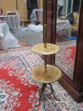 VINTAGE OAK AND BRASS TWO TIER ADJUSTABLE STANDARD LAMP WITH SHADE