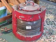 RED PAINTED VINTAGE SHIPS LAMP