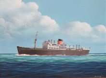 J CROMBY FRAMED OIL ON BOARD DEPICTING A SHIPPING LINER APPROX 37 x 50cm