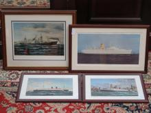 FOUR VARIOUS FRAMED PICTURES RELATING TO SHIPPING LINERS