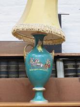 CERAMIC TABLE LAMP DEPICTING ROMAN SCENES - A/F