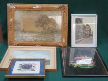 GILT FRAMED SILK PICTURE AND OTHER PICTURES AND PRINTS