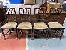 SET OF FOUR RUSH SEATED SPINDLE BACK CHAIRS