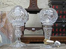 TWO DECORATIVE ETCHED GLASS MUSHROOM LAMPS