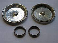 TWO HALLMARKED SILVER RECEIVERS AND PAIR OF SILVER NAPKIN RINGS