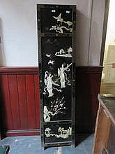 ORIENTAL STYLE BLACK LACQUERED MOTHER OF PEARL DECORATED FOUR FOLD DRESSING SCREEN (AT FAULT)