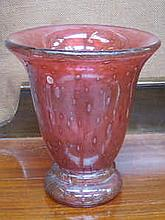 PRETTY SWEDISH RUBY COLOURED GLASS VASE, CIRCA 1920s, APPROXIMATELY 19cm HIGH