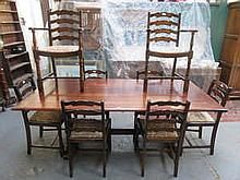 PRIORY OAK REFECTORY STYLE DINING TABLE WITH EIGHT (SIX AND TWO) CHAIRS