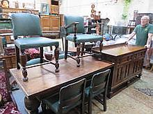 OAK REFECTORY STYLE DRAW LEAF DINING TABLE WITH SIX -5+1 CHAIRS AND SIDEBOARD