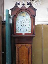 OAK AND MAHOGANY LONGCASE CLOCK WITH HANDPAINTED DIAL, BY BRODERICK