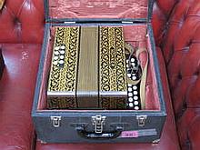 CASED HORNER DECORATIVE TWO ROW POKER WORK MELODEON