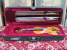CASED VIOLIN WITH TWO BOWS, UNNAMED