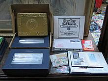 TWO BOXED SETS OF MILLENIUM COLLECTION ROYAL MINT STAMPS AND SMALL ALBUMS OF POSTAGE STAMPS, LOOSE STAMPS, ROYAL MINT STAMPS, ETC.