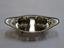 HALLMARKED SILVER PIERCE WORK INK STAND, CHESTER ASSAY