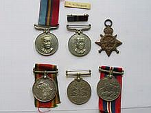 MIXED LOT OF MILITARY MEDALS INCLUDING 1914-15 STAR, AFRICA SERVICE MEDAL TO 595851 J.S. VAN DER WESTHUIZEN, ETC.