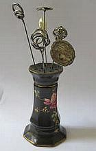 CERAMIC HAT PIN STAND AND SIX HAT PINS INCLUDING ONE BY CHARLES HORNER