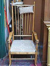 VINTAGE PINE SPINDLE BACKED ROCKING CHAIR