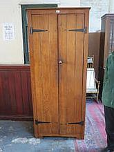 STAINED PINE TWO DOOR CUPBOARD
