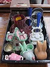 TRAY OF SUNDRIES CERAMICS, CRANBERRY GLASS JUG, PEWTER ETC.