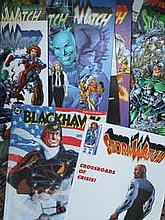 BOX CONTAINING APPROX. 150 + MARVEL, DC AND OTHER SUPER HERO COMICS MAINLY AMERICAN ISSUE INCLUDING STORM WATCH, MIRACLE MAN, BLACK HANK ETC.