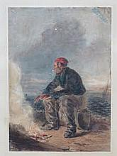 FRAMED WATERCOLOUR DEPICTING A SEATED FISHERMAN BY THE SHORE, BEARING A SIGNATURE W COLLINS RA, APPROXIMATELY 36cm x 26cm