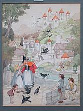 MODERN CHILDRENS' ILLUSTRATION DEPICTING A MYTHICAL VILLAGE, SIGNED TO BOTTOM RIGHT, DATED 1980, APPROXIMATELY 40cm x 30cm