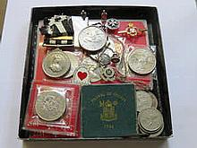 VICTORIAN ST. JOHNS AMBULANCE MEDALS AND CUFFLINKS, BADGES, ETC.  ALSO VARIOUS COINAGE