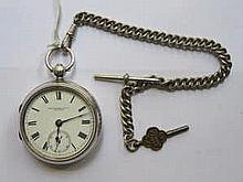 HALLMARK & CO SILVER POCKET WATCH WITH PLATED ALBERT CHAIN, CHESTER ASSAY