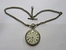 ELGIN SILVER PLATED AMERICAN POCKET WATCH WITH HALLMARKED SILVER ALBERT CHAIN