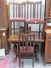 OAK DRAW LEAF TABLE AND FOUR CHAIRS