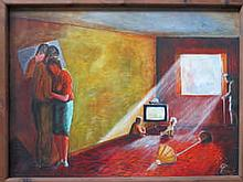 T. MURPHY, FRAMED OIL ON BOARD DEPICTING AN INTERIOR LIVING ROOM SCENE, APPROXIMATELY 58cm x 79cm
